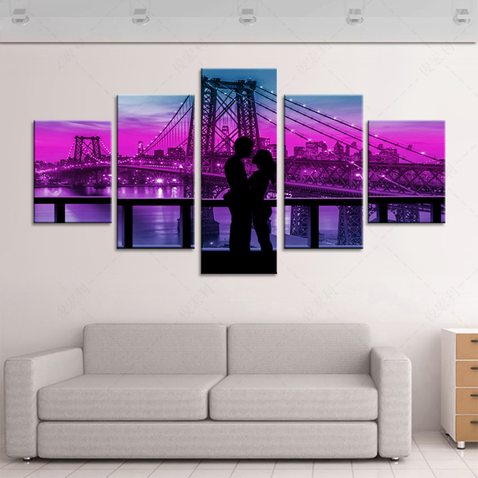 online get cheap hug posters aliexpress com alibaba group hd printed canvas poster frame home decor 5 panel nighttime couple hugs living room wall art