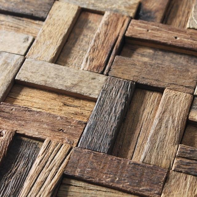 Alte Schiff Holz Mosaik, Bodenfliesen, Wandfliesen, Rustikalen Holz Textur  Wand Dekorative Fliesen Wohnzimmer