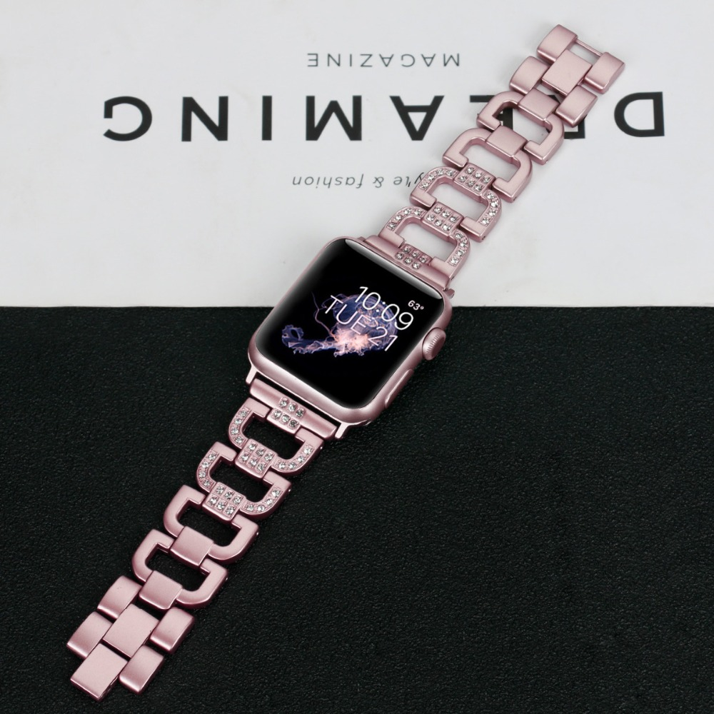 For Apple Watch Wrist Bracelet Luxury Crystal Diamond Watch Band Strap Replacement Band For Apple iWatch Series 1 2 3 38mm-42mm