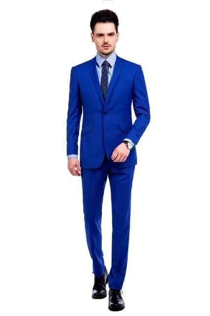 ae00fae064f75 Real azul de corte Slim traje vestido para hombres 2016 boda esmoquin ropa  (chaqueta +