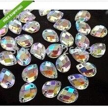 Бусины в форме капли 400 шт. 8*13 мм прозрачный AB пришить Акриловые стразы, искусственный бриллиант рукоделие швейный Камень Стразы с плоской задней частью алмаз 06