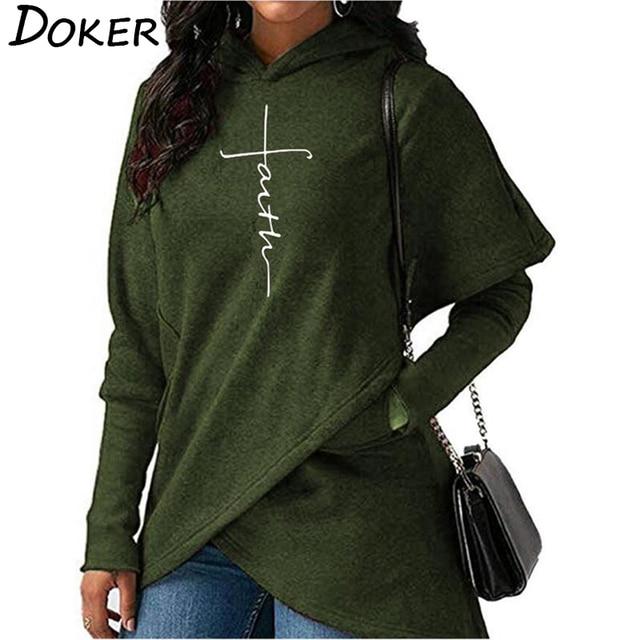 5XL Autumn Hoodies Sweatshirts Women Long Sleeve Faith Embroidery Warm Hooded Pullover Tops Plus Size Casual Female Sweatshirt 5