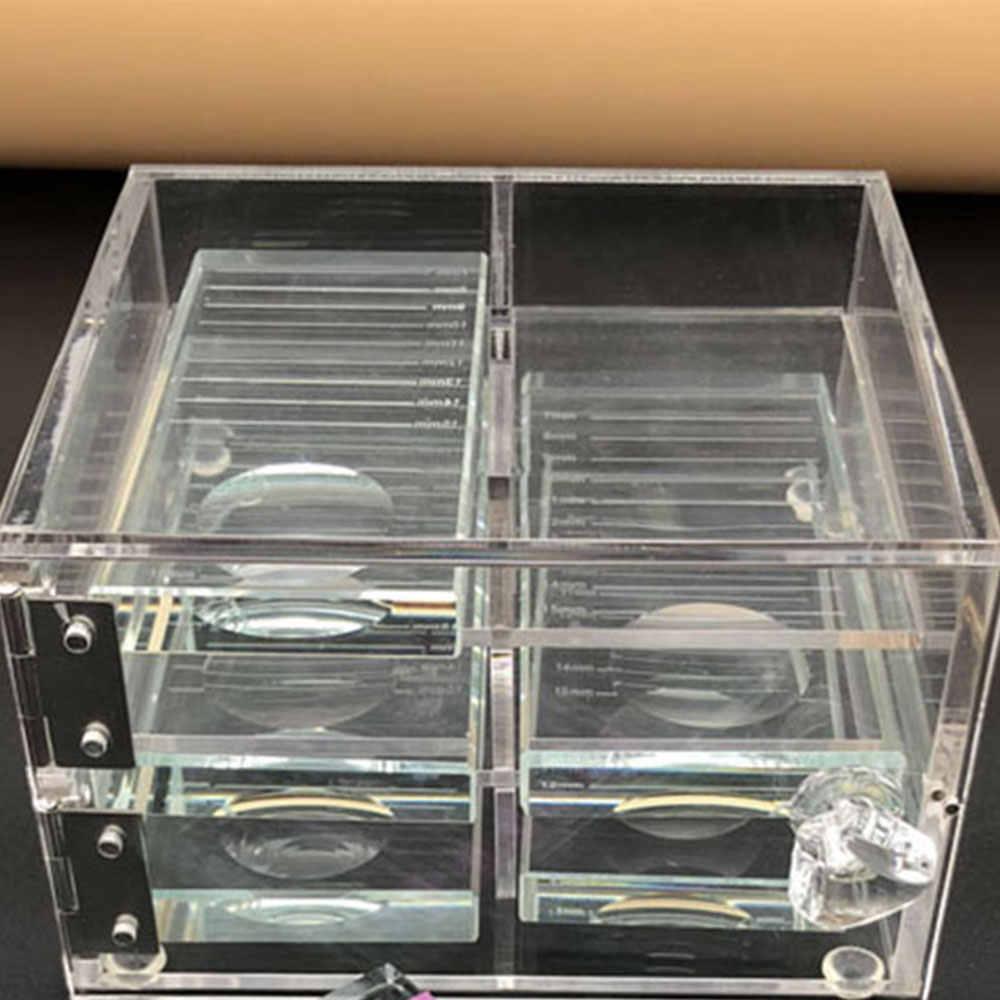 False ריס הארכת תצוגת מסך אחסון תיבת אקריליק מקרה ריס קוסמטיקה איפור אחסון תיבת ריסים מחזיק J11