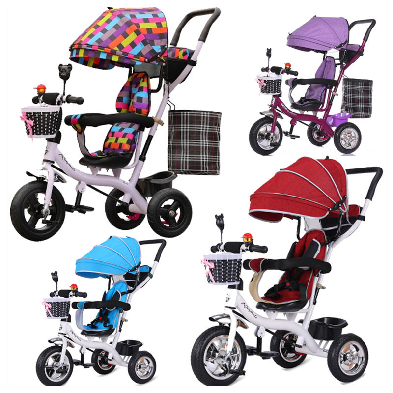 Portable Toddler Child Tricycle Stroller Tricycle Bicycle Umbrella Car Pushchair Buggy Baby Tircycle 3 Wheels Recumbent Trike
