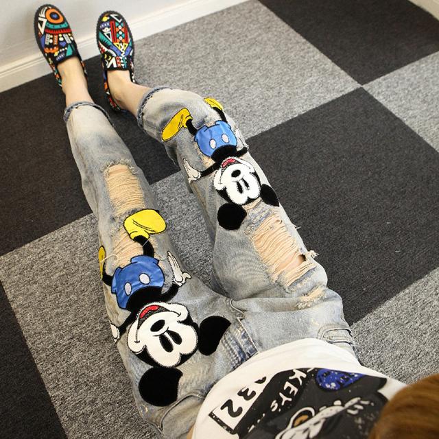 Mulheres primavera Verão Moda Recorte Personalidade Dos Desenhos Animados Jeans Skinny Feminina Escavar Begar Rua Jeans Denim Calças