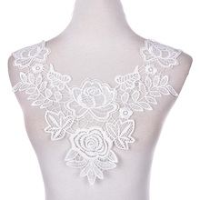 1 PCS 100% Polyester Off White Floral Lace Collar Fabric Trim DIY Embroidery Neckline Applique Sewing Craft