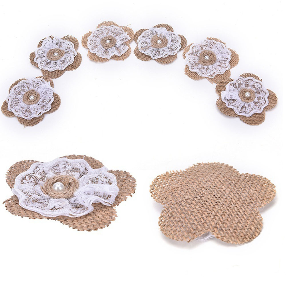6pcs/set Handmade Vintage Rose Flower With Feather For DIY Wedding Event Party Headwear Brooch Decoration Craft