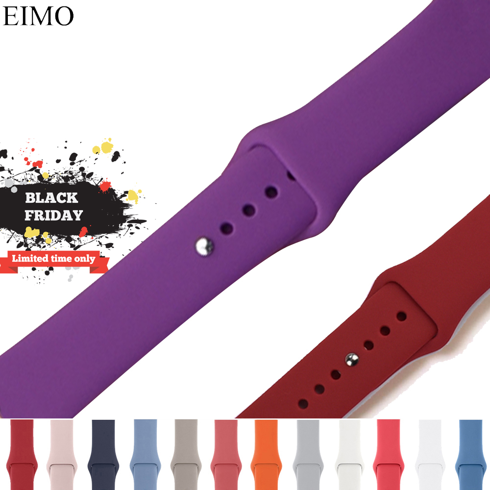 EIMO Sport Silicone Strap For Apple Watch Band 42mm 40mm 38mm 44mm iwatch series 4/3/2/1 bracelet Wrist Belt Watchband Correa for apple watch band 4 44mm 40mm leather strap correa 42mm 38mm bracelet wrist watchband iwatch series 4 3 2 1 replacement belt