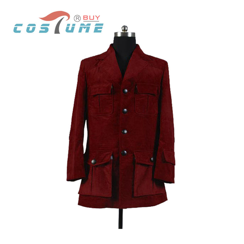 Who is Doctor Dr. Dark Red Corduroy Trench Coat Jacket Cosplay Costume For Men Halloween Costume Custom Made