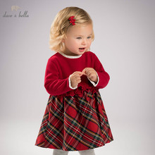 DB6078 dave bella ฤดูใบไม้ร่วงเด็กผู้หญิงเจ้าหญิงงานแต่งงานชุดวันเกิดเด็กลายสก๊อตเสื้อผ้าทารก Designs สาว Vestido