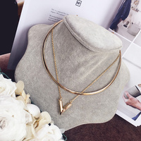 New Fashion Necklace Simple Metal Letter V Collar Necklace Double Short Paragraph Clavicle Chain Necklace
