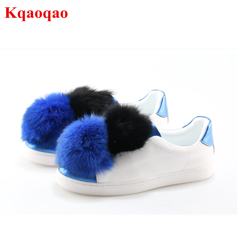 Colorful Fur Ball Decor Round Toe Women Shoes Casual Shoes Luxury Brand Super Star Flats Zapatos Mujer Runway Stage Shoe Low Top yanicuding round toe women flock ankle booties metal short boots zip design luxury brand fashion runway star autumn shoes flats