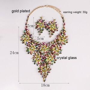Image 4 - Mới Sang Trọng Lớn Pha Lê Vòng Bộ Bông Tai Vàng/Bạc Màu Bộ Trang Sức Ấn Độ Thời Trang Cưới cô dâu Trang Sức