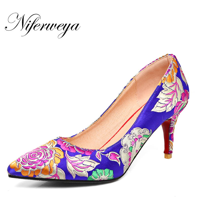 Big size 33-43 Spring/Autumn Chinese style red women wedding shoes fashion Pointed Toe embroidery Slip-On thin heel high heels enmayer spring autumn women fashion wedding pumps shoes rhinestone beading pointed toe slip on thin heels large size 34 43 white