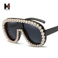 SHAUNA Crystal Decoration Oversize Women Sunglasses Brand Designer Fashion Venetian Pearl Ladies Black Glasses UV400