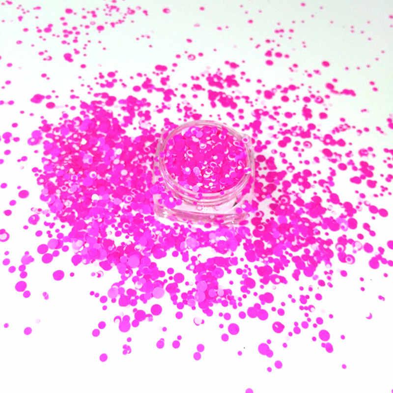 6 קופסות לערבב עגול דוט נייל גליטר פתית Spangle צורת עבור נייל אמנות ג 'ל פולני אקריליק איפור קרפט קישוט