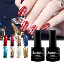 sarness 10ml Brand Gel Nail Polish Diamond Glitter Nail Gel Factory Direct Easy Soak Off Top and base coat Gel Polish