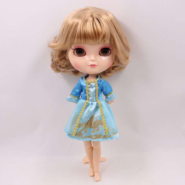 ICY nude doll small chest Joint azone body gloden mix short hair with bangs No.2240/3227 30CM F&D free shipping
