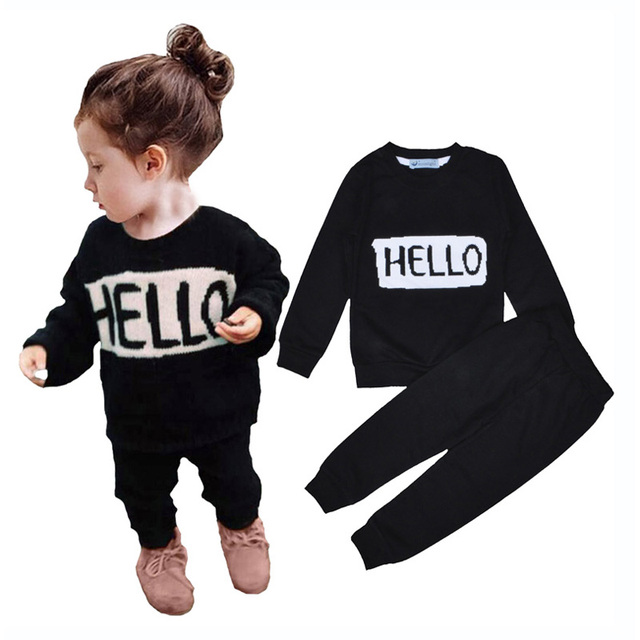 girl clothing set baby girls sports hello bye t shirt+black pant clothing sets for baby girl autumn 2016 sport baby clothing set