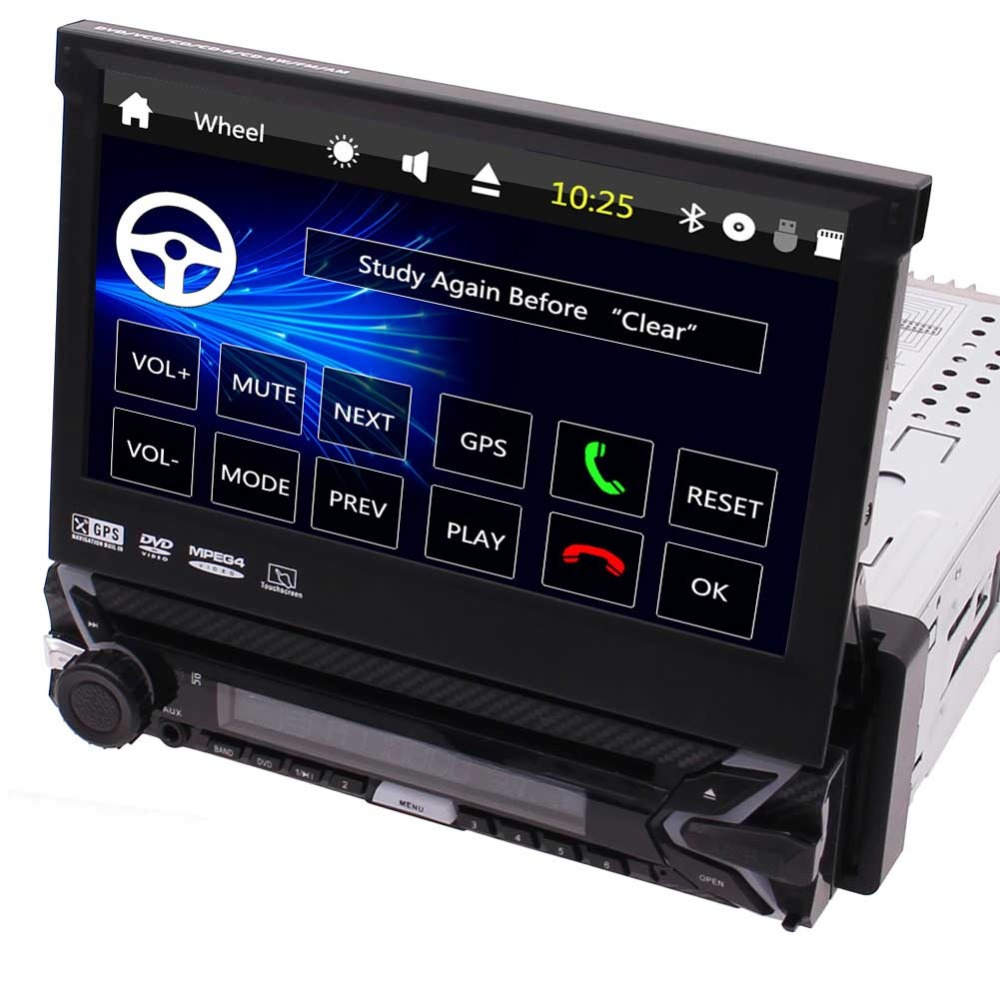 GPS Radio 7 inch Car DVD Player In Dash Head Unit 1 Din Car Audio support Bluetooth Hands free and Steering Wheel Controls,FM/AM
