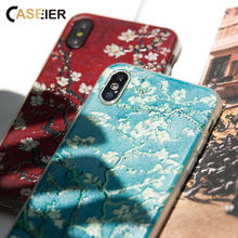 CASEIER Phone Case For iPhone X XR XS MAX 8 7 Emboss Silicone Case Funda For iPhone X XR 6 6s 8 7 Plus Painting Phone Accesories