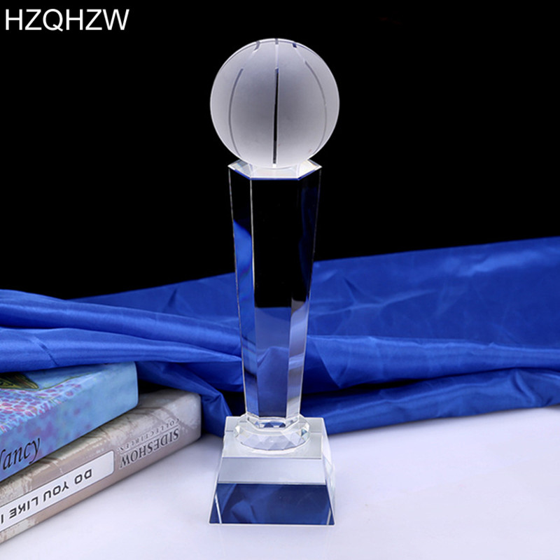 1 Piece Customized Football Basketball Golf Earth Crystal Trophy For Premier League Americas Cup Awards Sport Events Souvenirs