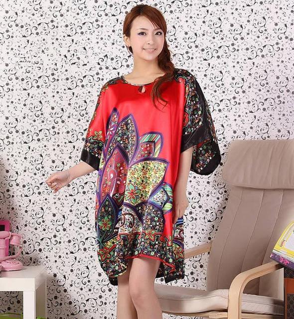 El Tamaño más de Moda Femenina Albornoz Bata Diseño Impreso Mujeres Rayón Camisón Camisón de Verano Pijama Mujer Zh887K