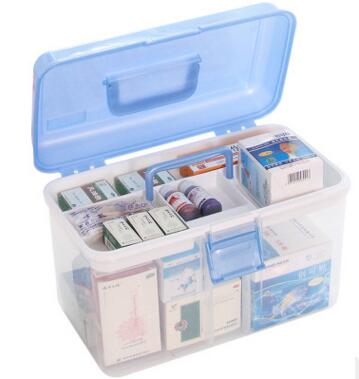 Portable emergency kit family large double-layer medical box portable plastic medicine box car first aid box цена