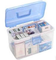 Portable emergency kit family large double layer medical box portable plastic medicine box car first aid box