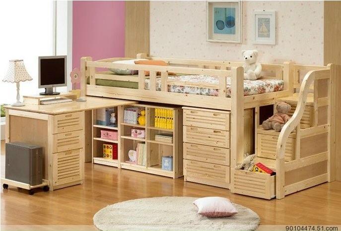 Los ni os muebles de madera escritorio combinaci n - Camas infantiles con escritorio ...