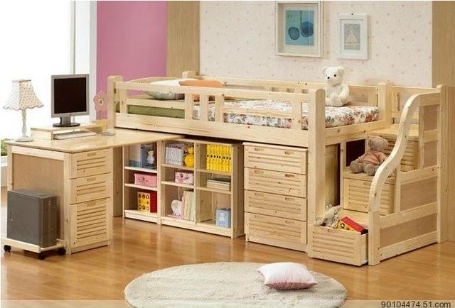 Camas con escritorio cama alta simple moderna de madera for Muebles de escritorio