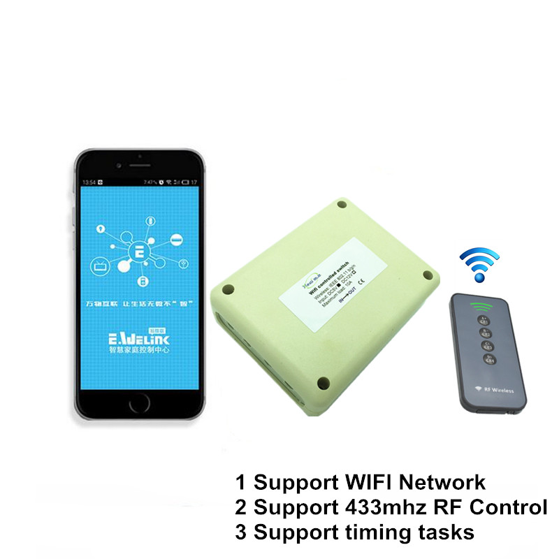 2017 New 4CH 5V DC WIFI Light Switch Controlled by Phone APP, RF 433mhz Wireless Remote Control Switches For Garage Smart Home new 1ch 7v 12v 24v dc relay module switch wifi rf 433mhz wireless remote control timer switches for light work by phone