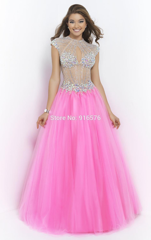 Vestidos largos Para La Boda Candy Pink Vestido de Tul Con Cristales ...