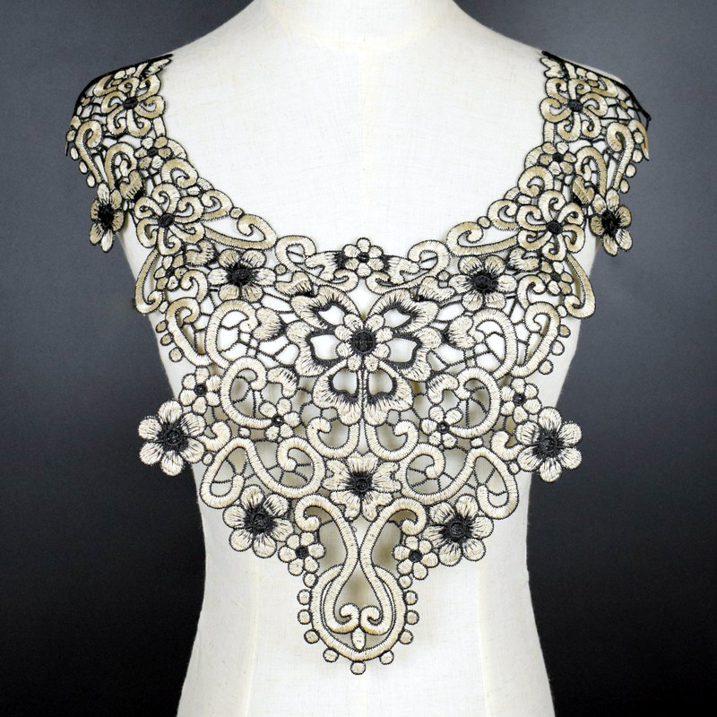 Black Beige Collar Venise Sequin Floral Embroidered Applique Trim Decorated Lace Neckline Collar Sewing Accessories NL308