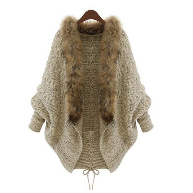 Pull tricoté à la main pour femme, faux col en fourrure de raton laveur, garniture, gilet en faux gilet, veste de couleur marron, manteau court pour femme