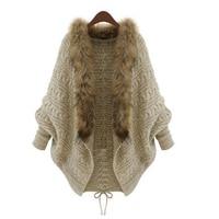 hand women knitted sweater fake raccoon fur collar trim shawl vest faux vest waistcoat brown color jacket ladies short coat