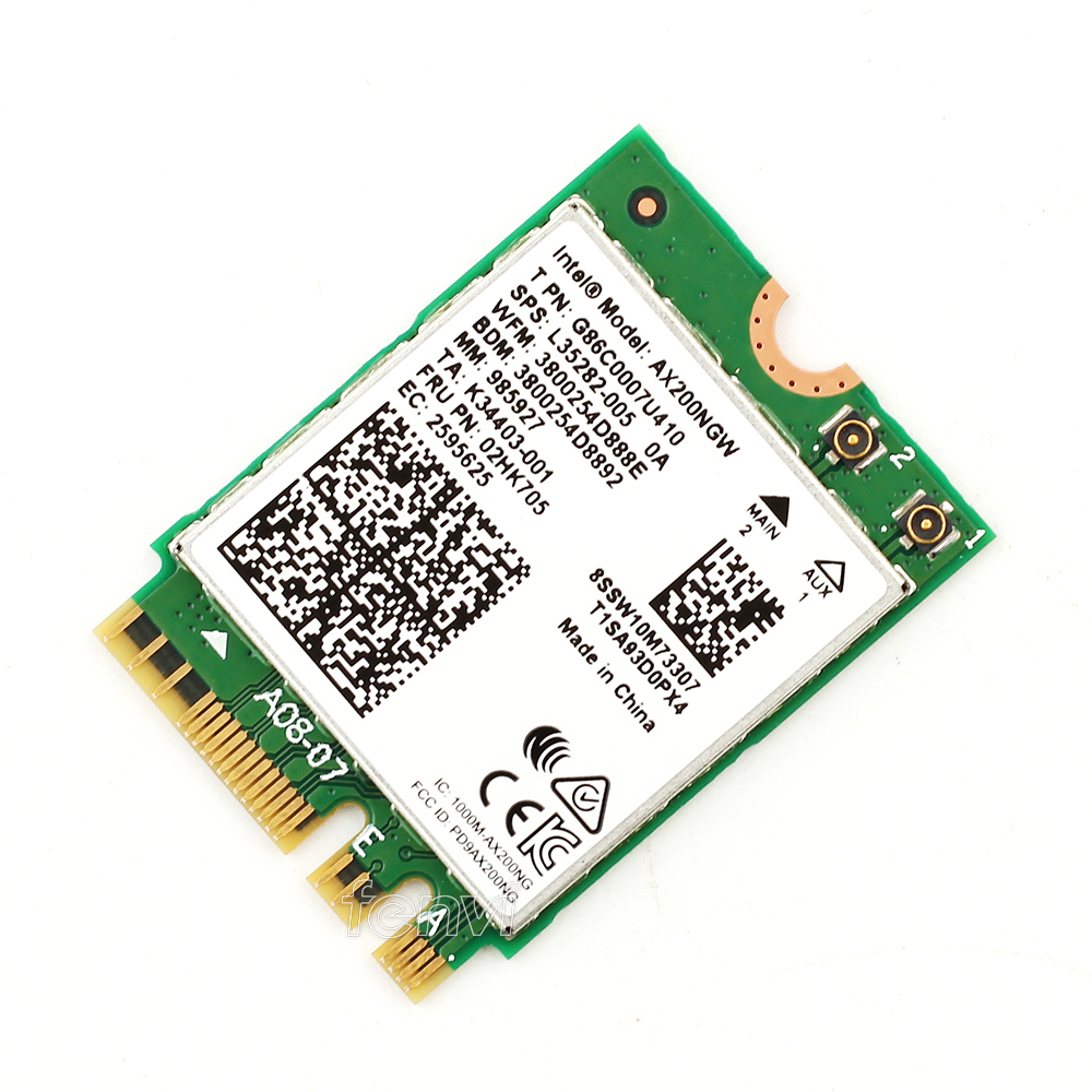 Image 4 - Dual band 2.4Gbps Intel Wi Fi 6 AX200NGW 802.11ax/ac MU MIMO 2x2 Wifi AX200 NGFF M.2 Bluetooth 5.0 Network Wlan Card+Antenna-in Network Cards from Computer & Office