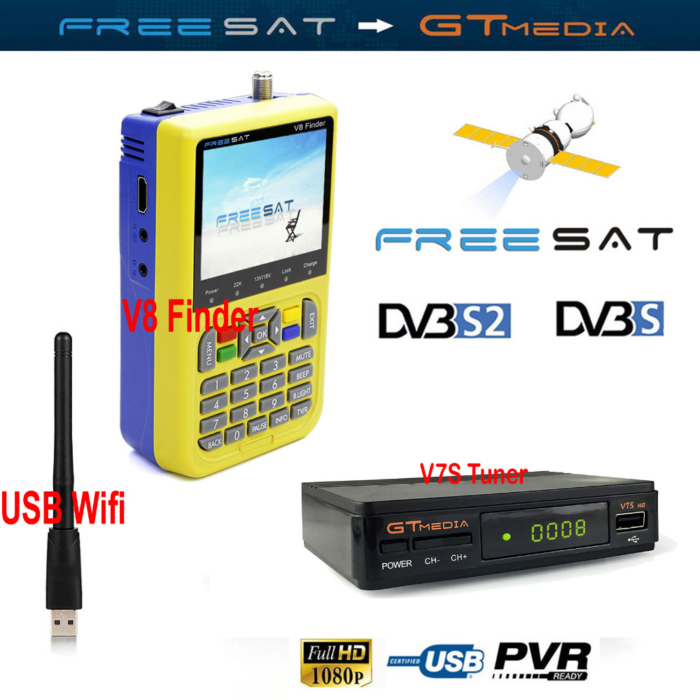 FREESAT V8 Satellite finder lnb Dish meter with 3.5inch LCD HD DVB-S2 Cccam Receptor TV Tuner V7S HD Receiver USB Wifi Converter lnb 001 satellite tv receiver tuner white beige