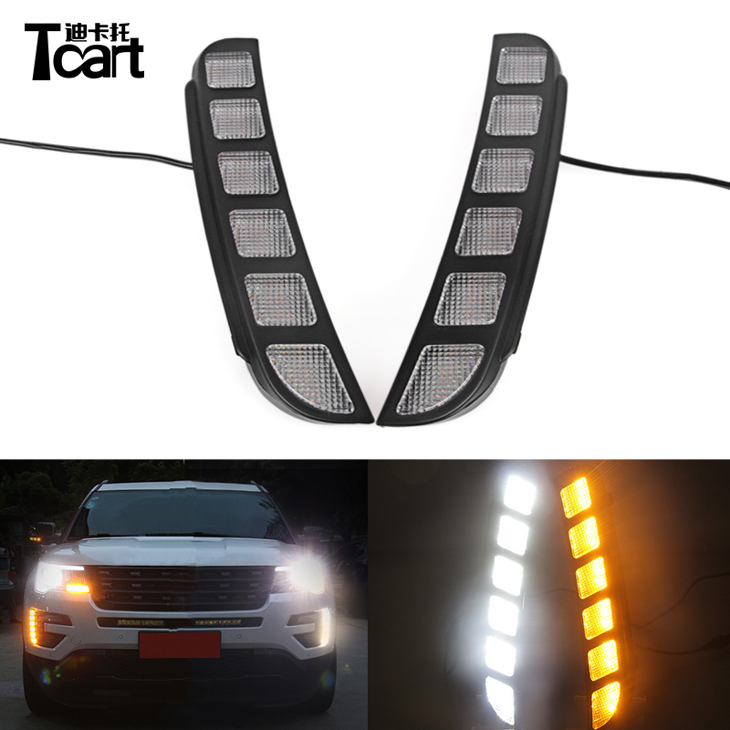 Tcart For Ford Explorer 2016 2017 Yellow Signal Function Waterproof ABS Cover Car LED DRL 12V LED Daytime Running Light Daylight white yellow turning function abs cover 12v car drl led daytime running light daylight lamp for chevrolet cruze 2016 2017 drl