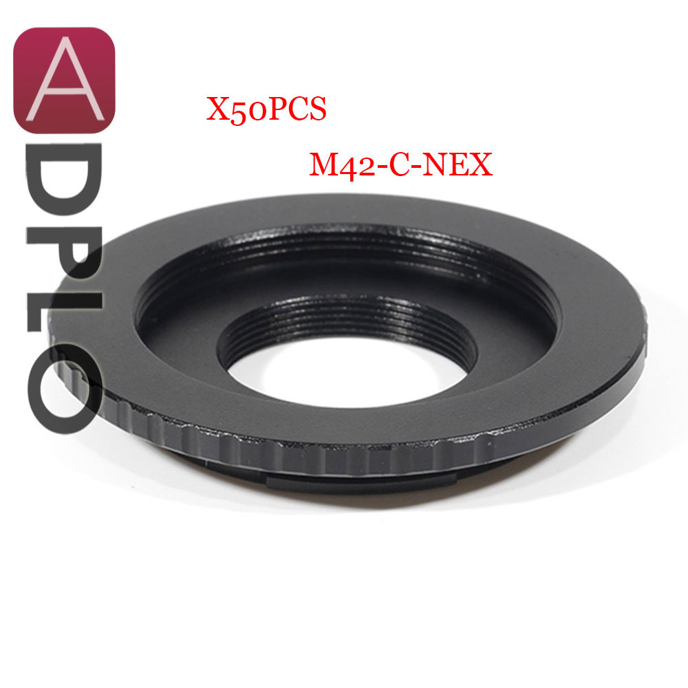 ADPLO 50 pcs de bague d'adaptation pour M42-C-NEX, adaptateur d'objectif à double usage pour M42 vis C monture de film à caméra NEX