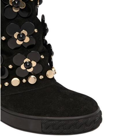 Nova Moda Floral Embelezado Cravejado Ankle Boots de Camurça Preto Botas de Cunha Altura Increaing Mulheres Botas de Inverno - 6