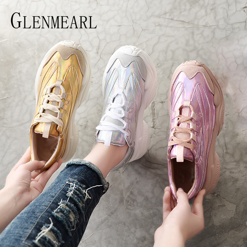 Genuine Leather Women Sneakers Casual Shoes Platform Lace Up Fashion Woman Flats Running Shoes Spring Autumn