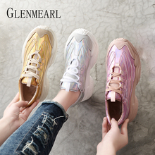 Genuine Leather Women Sneakers Casual Shoes Platform Lace Up Fashion Woman Flats Running Shoes Spring Autumn White Shoes Female spring autumn 2019 women shoes flats platform shoes woman fashion sneakers lace up low cut casual white shoes luxury designers