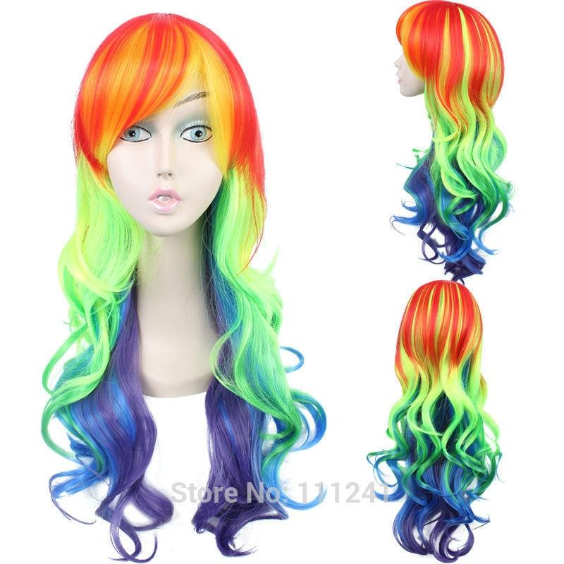 My Little Pony Rainbow Dash 65cm Long Curly Wavy Synthetic Hair Cosplay Wig + Wig Cap