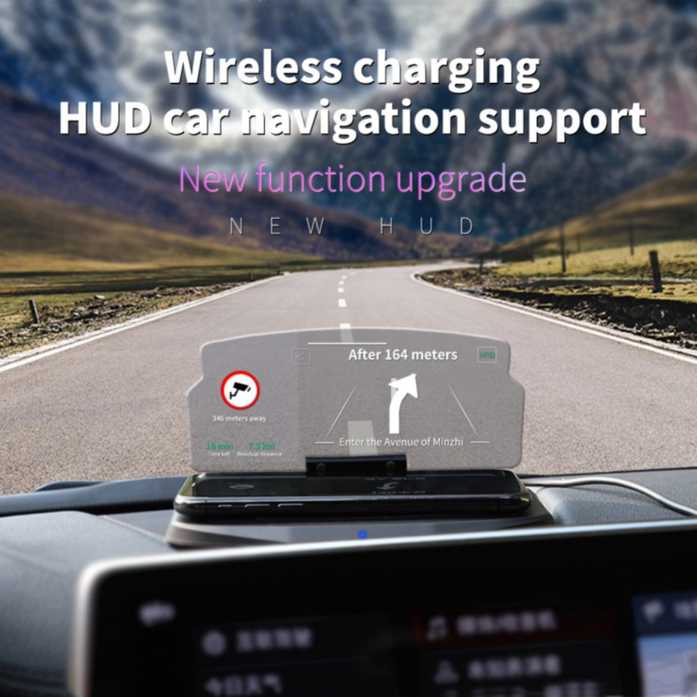 Wireless Car Charger Mount, Head UP Display/HUD Qi Charging Folding Holder Dashboard Phone GPS Navigation Image Reflector Projec