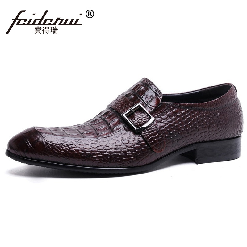 Fashion Crocodile Man Casual Shoes Genuine Leather Cow Comfortable Loafers Round Toe Designer Brand Men's Business Flats FD94 men cow split leather shoes casual loafers soft and comfortable oxfords non slip flats luxury brand designer shoe zapatos hombre
