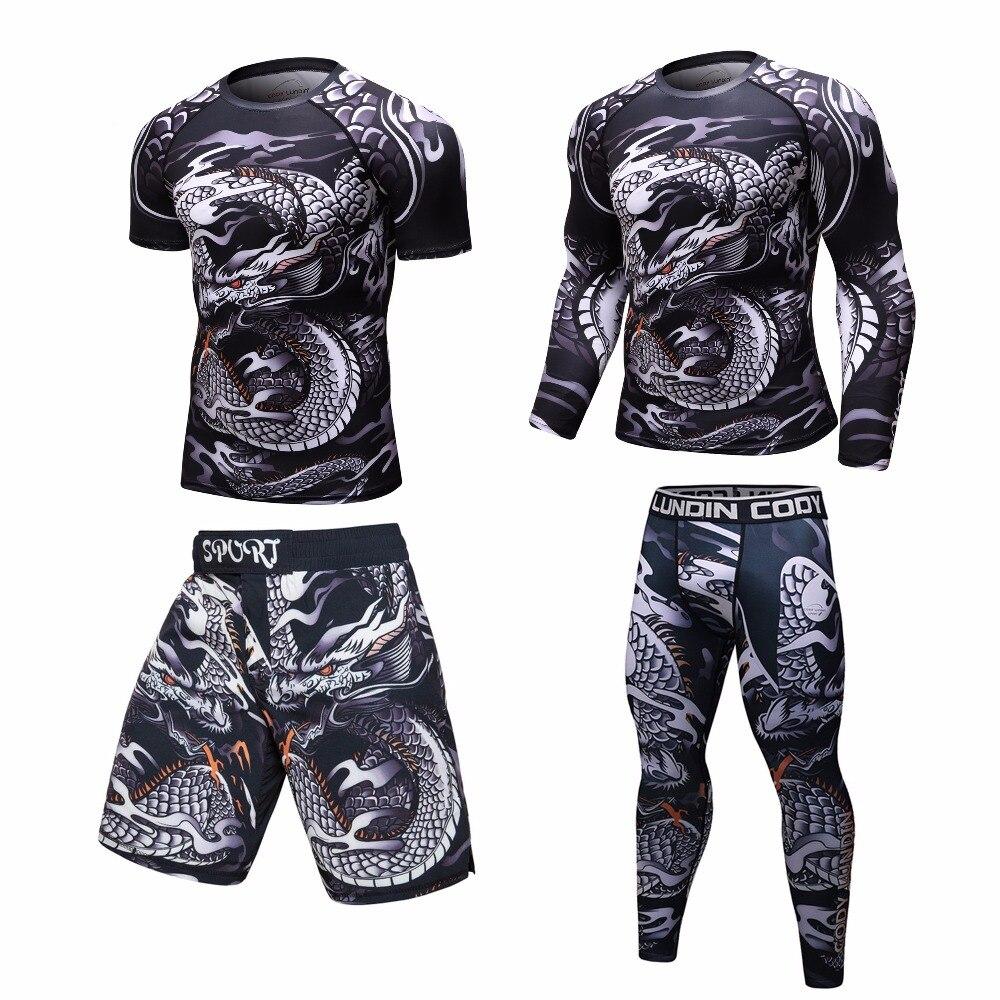 חדש לגמרי UFC BJJ MMA לעבוד דחיסת Rashguard T חולצה גברים VS PK תרגיל 3D כושר גרביונים Bodybuild צלב fit פריחה משמר