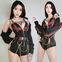 Rave Clothing Female Dj Costume Sexy Outfits For Woman DJ Jazz Dance Costumes With Hat Pole Dance Clothing Singer Dress DWY166