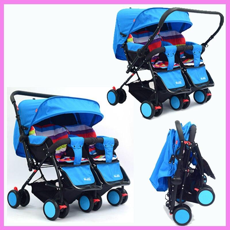 Близнецы Детские Коляски 2 в 1 могут сидеть лжи Двусторонняя нажмите обратного ручкой kinderwagen двойной коляска для двойни складной зонтик коля...