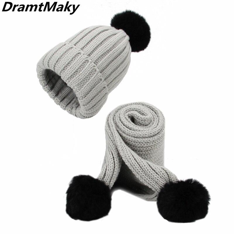 2018 Girl pompom Warm Knitted Bobble Fur Pompom Hat and Scarf Set Children rabbit Fur Women's Winter Hat   Skullies     beanie   bonnet